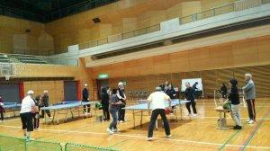 駒ヶ岳山麓倶楽部では毎年、6月と11月にラージボール卓球のダブルス大会がある。